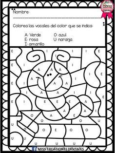 Colorea y descubre el dibujo con sílabas, letras y números para preescolar y primaria | Educación Primaria