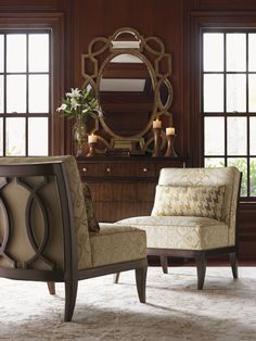 Montaigne Armless Chair / Granville Scroll Mirror  / Miranda Single Dresser