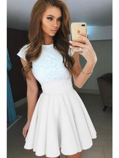 Princess Prom Dresses, 2019 Chiffon & Lace Scoop A Line Cocktail Dresses Short/Mini Zipper Up, Plus Size Formal Dresses and Plus Size Party Dresses are great for your next special Occassion at cheap affordable prices The Dress Outlet. Simple Dresses, Elegant Dresses, Cute Dresses, Casual Dresses, Short Sleeve Dresses, White Dresses For Teens, Formal Dresses, Tight Dresses, Summer Dresses 2017