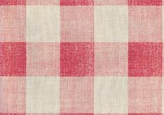 Check Linen Fabric Printed large gingham check in pink on cream linen.