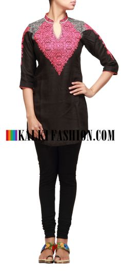 Buy Online from the link below. We ship worldwide (Free Shipping over US$100 http://www.kalkifashion.com/black-kurti-with-resham-work.html Black kurti with resham work