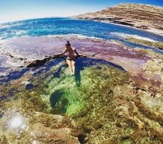 Soak in the rock pools of coastal Kalbarri National Park, Western Australia. This one is the Blue Hole in Kalbarri. Stop on the Broome to Perth drive. Kalbarri National Park, Campervan Hire, Blue Hole, Rock Pools, Western Australia, Campsite, Perth, The Rock, Places To See