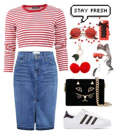 """""""❤️ Red Stripe ❤️"""" by helloume ❤ liked on Polyvore featuring Current/Elliott, Dolce&Gabbana, adidas Originals, Charlotte Olympia, Accessorize, Charlotte Russe and ZeroUV"""