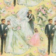 bride and groom Vintage Wedding Cards, Vintage Wedding Invitations, Vintage Greeting Cards, Vintage Bridal, Vintage Gifts, Wedding Bells Clip Art, 1970s Wedding, Vintage Wrapping Paper, Wrapping Papers