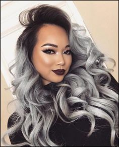 New Style Gray Ombre Hair Color Trend For Dark Hairs - Frisuren Trends Grey Dyed Hair, Grey Ombre Hair, Black Ombre, Balayage Hair, Wig Hairstyles, Black Hairstyles, Wavy Haircuts, Human Hair Wigs, Hair Trends