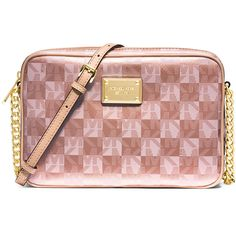 MICHAEL Michael Kors Jet Set Large Checkerboard Crossbody Bag ($130) ❤ liked on Polyvore featuring bags, handbags, shoulder bags, rose gold, chain handbags, cross body, michael michael kors purse, crossbody purse and crossbody shoulder bags