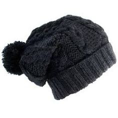 """Nirvanna Cable Knit Slouch with Pom-Pom and Fleece: """"Face the frost and take to the outdoors with this cable knit wool cap as protection. With its slouchy, loosely fit design and pom-pom top, this hat makes it possible to feel warm while looking cool. From Nirvanna Designs."""" -Mixaza"""