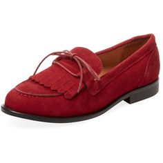 Alex + Alex Women's Fomos Suede Loafer - Red - Size 35 (450 GTQ) ❤ liked on Polyvore featuring shoes, loafers, red, fringe shoes, stacked heel shoes, fringe loafers, red shoes and suede leather shoes