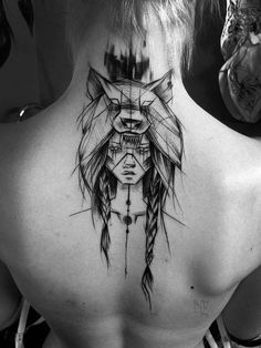 Ink | Body Mod | Tattoo | Native American | Female with wolf skin |