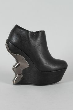 39fd5ad0fc1e Metal Plated Carved Curved Wedge Bootie