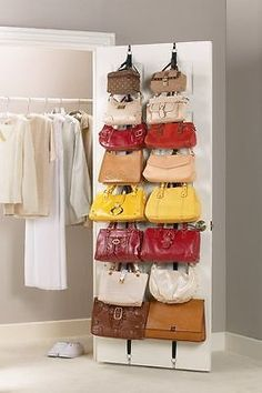 Over the Door Hanging Purse Hat Storage Closet System Organizer Hanger