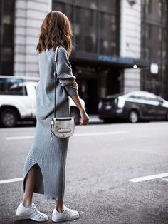 Grey Knitted Dress •