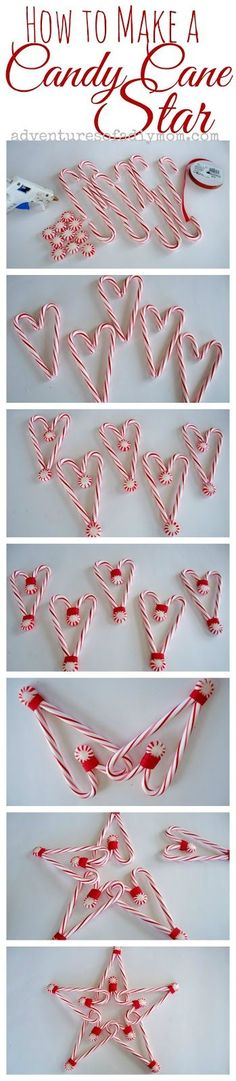 How to make a Candy Cane Star, alternative use candy cane hearts, wand.