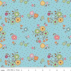 Riley Blake - Flower Bouquet Blue - cotton fabric