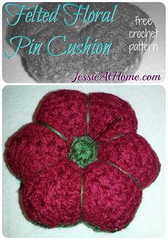 Felted floral #crochet pincushion free pattern @jessie_athome