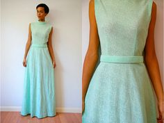 Vtg Mint Green Floral Lace Belted Maxi Dress by LuluTresors, $49.99