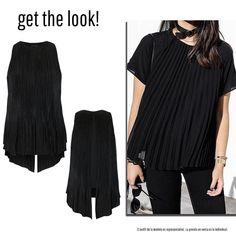 Blusa tela plisada negra, largo asimétrico, abertura en la espalda