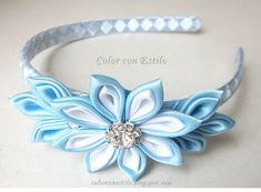 Diadema con flor kanzashi #kanzashi #fitas #cintas #ribbons #diadema #headband