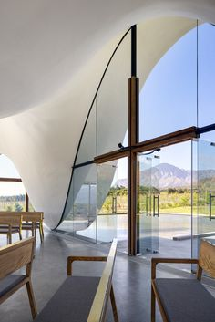 "Steyn Studio, working in collaboration with South African firm designed this striking architectural project for the Bosjes Canopy Chapel in South Africa. ""The chapel… Canopy Architecture, Sacred Architecture, Religious Architecture, Church Architecture, Contemporary Architecture, Architecture Design, Colonial Architecture, Hotel Canopy, Diy Canopy"