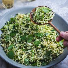 The best Cabbage Tabbouleh Salad! Vegetable Stock, Allrecipes, Spinach, Nom Nom, Cabbage, Salads, Vegan Recipes, Spices, Mint