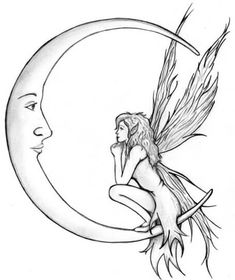Moon and fairy tattoo design . tattoo designs Fairy Tattoos Ideas For Girls To Look Sensually Beautiful Pixie Tattoo, Hawaiianisches Tattoo, Tattoo Mond, Tattoo Drawings, Tattoo Music, Fairy Tattoo Designs, Moon Tattoo Designs, Small Fairy Tattoos, Small Tattoos