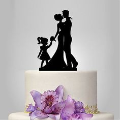Family Bride Groom Child Girl Daughter Silhouette Wedding Cake Topper - Wedding Look