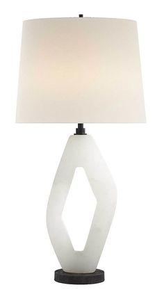 KELLY WEARSTLER | PALISADES DIAMOND TABLE LAMP. Sculptural alabaster lamp