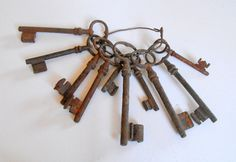 Antique French Keys Group of 10 Rusty Keys by Vintagefrenchlinens, $75.00