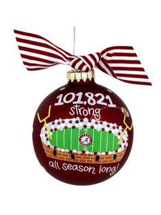 $14.50 University of Alabama Bryant-Denny Stadium Glass Keepsake Ornament with Gift Box
