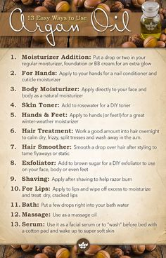 13 Everyday Uses for Argan Oil. If you love to read interesting stuff on Argan oil and beauty tips for your hair and skin, stay touch with Shop Argan Oil.  www.Shop-Argan-Oil.com