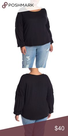 0ecf15929fbb2e MELROSE AND MARKET Smocked Sleeve Blouse MELROSE & MARKET soft knit blouse  in black Long sleeves