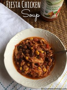 Fiesta Chicken Soup recipe.  This recipe for Fiesta Chicken Soup is one of my family's favorites. It's so easy to make, simply throw ingredients in the slow cooker and go about your business. At dinner time you'll have a delicious recipe that your family will love.