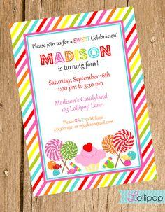 Lollipop Candy Land Printable Invitation (Printable PDF) | The ...
