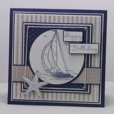 handmade birthday card ... masculine sailing theme ... navy, taupe and white ... complex design with various layers and popped up elements ... luv the use of silver brads to maintain the string line square ... great card!!  ... Stampin' Up!