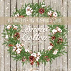 Christmas Watercolor Сotton Wreath Bouquets. by ReachDreams