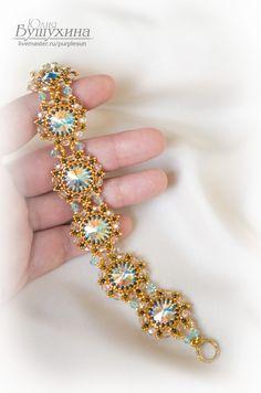 """Купить Комплект украшений """"Подарок Сурьи"""" - золотой, голубой, браслет, браслет из бисера, комплект украшений"""