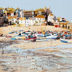 Buy Low Tide, St Ives Bay by Tom Butler, Official Website Seaside Art, Coastal Art, Beach Art, Landscape Art, Landscape Paintings, Landscapes, Watercolor Paintings, St Ives Bay, Color Mixing Chart