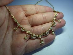 ANTIQUE VICTORIAN NATURAL PEARLS 18k GOLD NECKLACE Fringe Necklace, Pearl Necklace, Pearl Flower, Rare Antique, Flower Designs, 18k Gold, Dangles, Victorian, Pearls