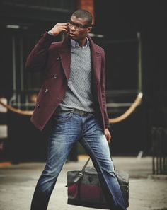 On the go style, like the gray/burgundy combo. #streetstyle