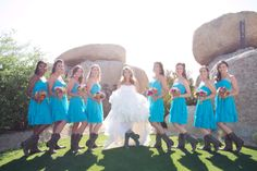 Gorgeous blue bridesmaid dresses with cowgirl boots for the Arizona inspired Wedding