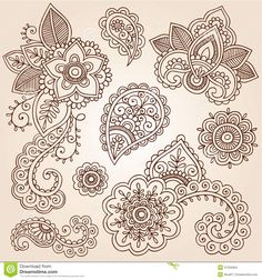 Henna Mehndi Paisley Cloud Doodle Design Royalty Free Stock Photo ...
