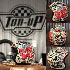 Hand painted helmet for the event Dusty Track, this helmet was a courtesy from ton-up garage painted by me