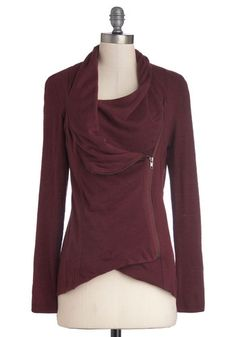 Airport Greeting Cardigan in Burgundy - Solid, Casual, Long Sleeve, Variation, Exposed zipper, Basic, Red, Better, Knit, Folk Art, Winter, Red, Long Sleeve, Top Rated, Jersey, Best Seller, Mid-length