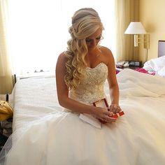 Half-up, half-down wedding hairstyle