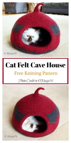 This Cat Felt Cave House Free Knitting Pattern has fashionable design and is easy to make. It's the ultimate snoozing spot for your kitty. Loom Knitting Patterns, Knitting Stitches, Free Knitting, Knitting Projects, Knitting Tutorials, Vintage Knitting, Vintage Crochet, Stitch Patterns, Needle Felted Animals