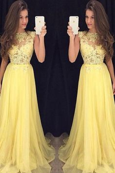 New style Prom Dress,yellow Prom Dress,chiffon Prom Dress,Prom Gowns for Teens,Lace Prom Party Dresses, Sweep Train Evening Dress