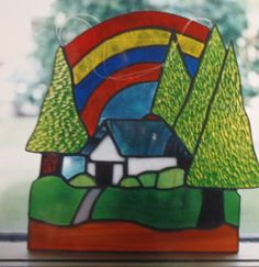 House Suncatcher Suncatchers, Stained Glass, House, Stained Glass Windows, Haus, Stained Glass Panels, Leaded Glass, Homes, Fused Glass
