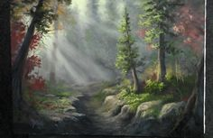 Are you struggling to paint sunrays? This painting is available as a DVD and Kevin will show you step-by-step how to create beautiful sunrays in this forest painting. For more information about this DVD, go to www.paintwithkevin.com