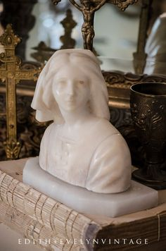 Antique Marble Joan of Arc Bust Statue Jeanne D by edithandevelyn