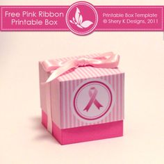 Printable Box Pink Ribbon. FREE. #sherykdesigns.com (create account to access file & download)